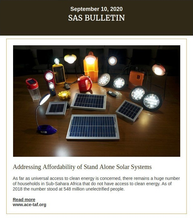 ACE TAF SAS Bulletin, Issue 3 - Closing the affordability gap in the SAS Sector